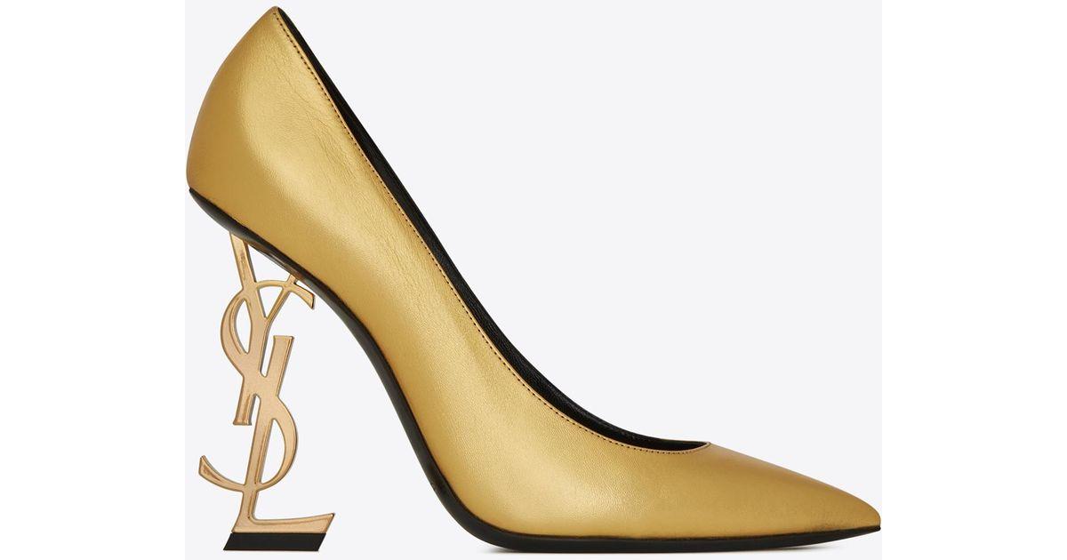 ddff4357c Saint Laurent Opyum Pumps With Gold-toned Heel in Metallic - Lyst