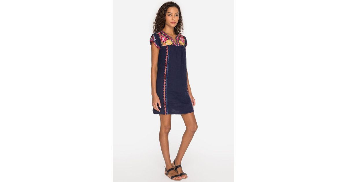 Johnny Was Vella V-neck Mexican Tunic Dress-plus Size in Black - Lyst