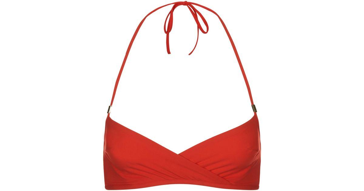 d1e5392a3417c Lyst - La Perla Aquamarine Tango Red Underwired Bandeau Halter-neck Bikini  Top in Red