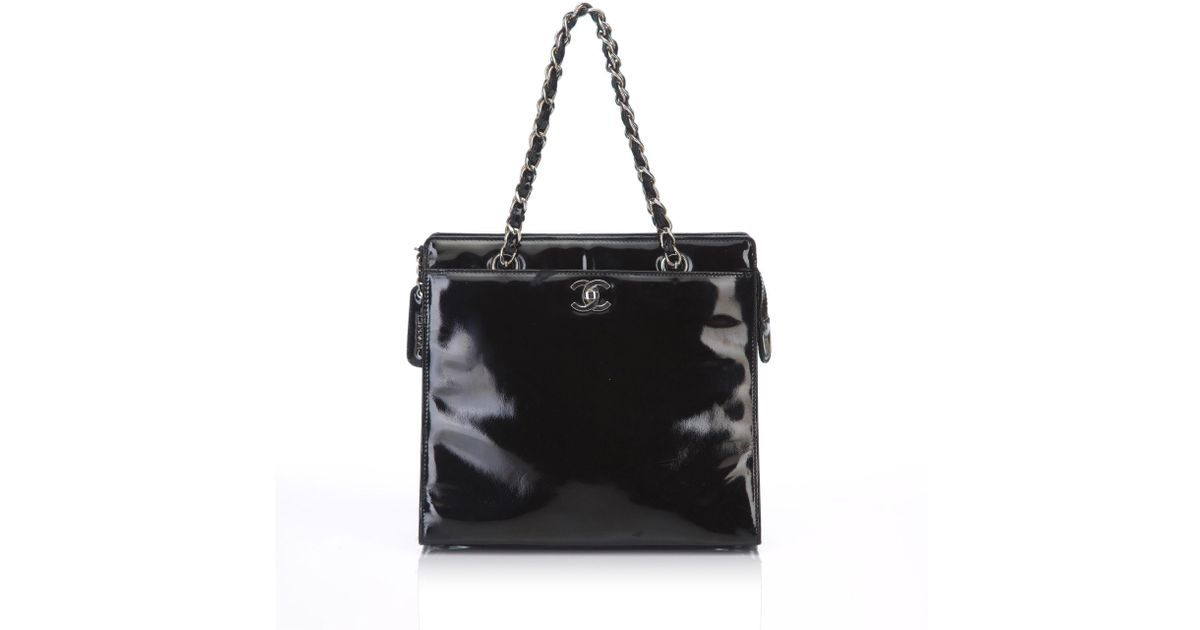 b6d9a32a7881 Lyst - Chanel Patent Leather Chain Tote Bag in Black