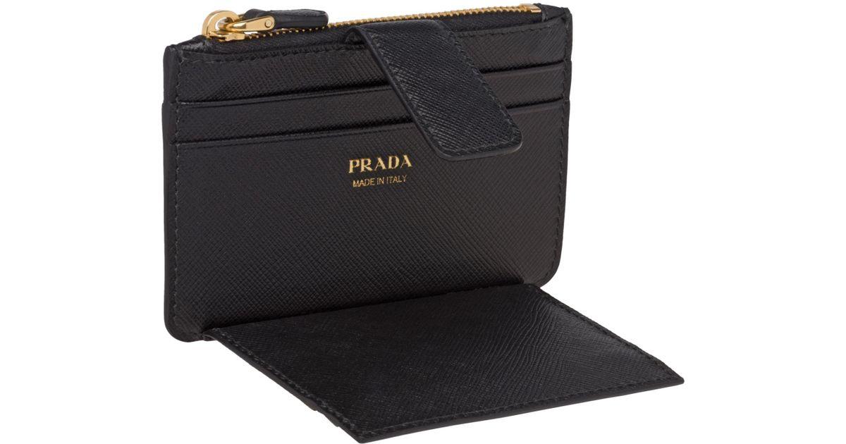 7ed88ec32c11 ... shop lyst prada saffiano leather credit card holder in black 4297a b6c14