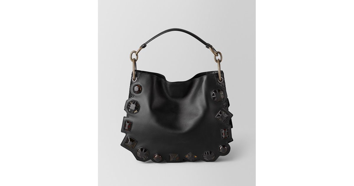 c237a1be1a34 Lyst - Bottega Veneta Nero French Calf nappa Gems Loop Bag in Black