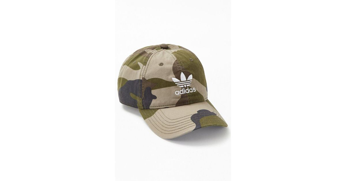 e74a725e7a1 Lyst - adidas Camouflage Relaxed Strapback Dad Hat in Green for Men