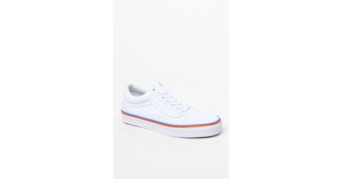 51c69172c8dbde Lyst - Vans Women s Rainbow Foxing Old Skool Sneakers in White