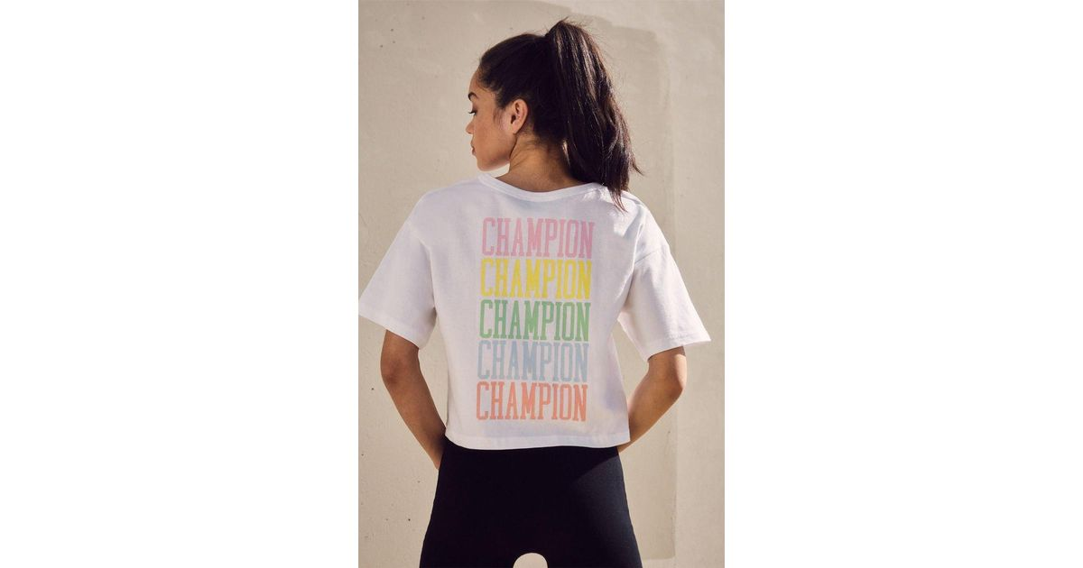 a16cea02dd14 Champion Rainbow Embroidered Cropped T-shirt in White - Lyst