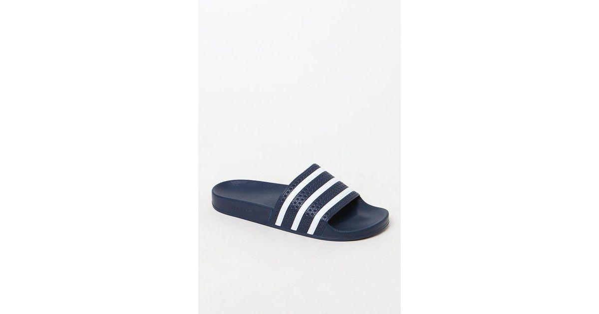 1341ff310021 Lyst - adidas Adilette Blue Slide Sandals in Blue