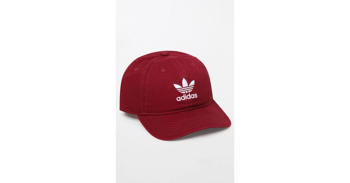 f315631e2d4d3 Lyst - adidas Washed Red Strapback Dad Hat in Red for Men