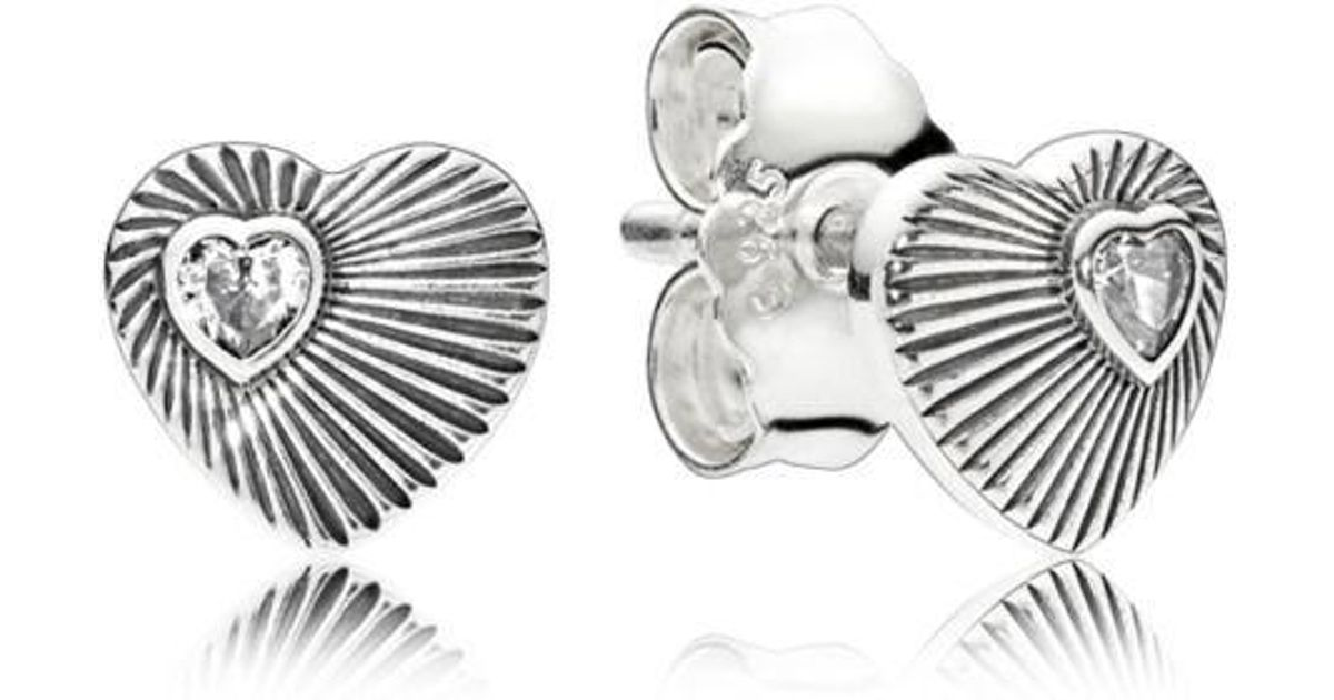 62b7dd6ca ... store pandora vintage heart fans stud earrings lyst 5444d b1aec