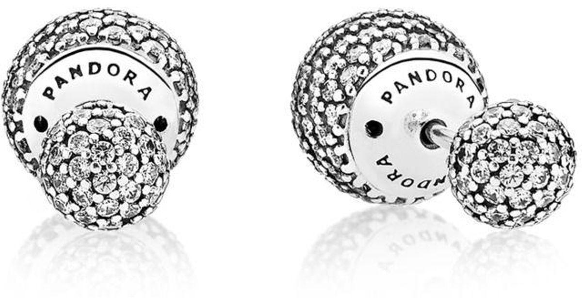 807cea03c4d PANDORA Pavé Drops Stud Earrings in Metallic - Lyst