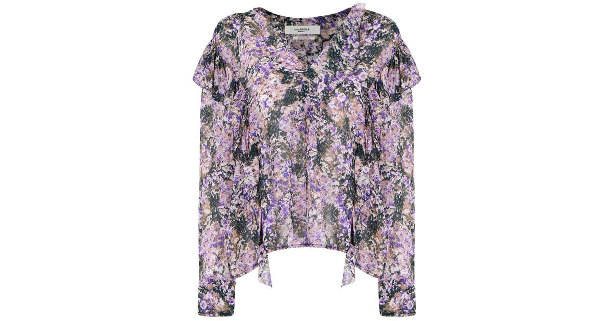 c0a54ea5ddc1d4 Isabel Marant Etoile Jelby Flower Camo Print Blouse Beige - Lyst