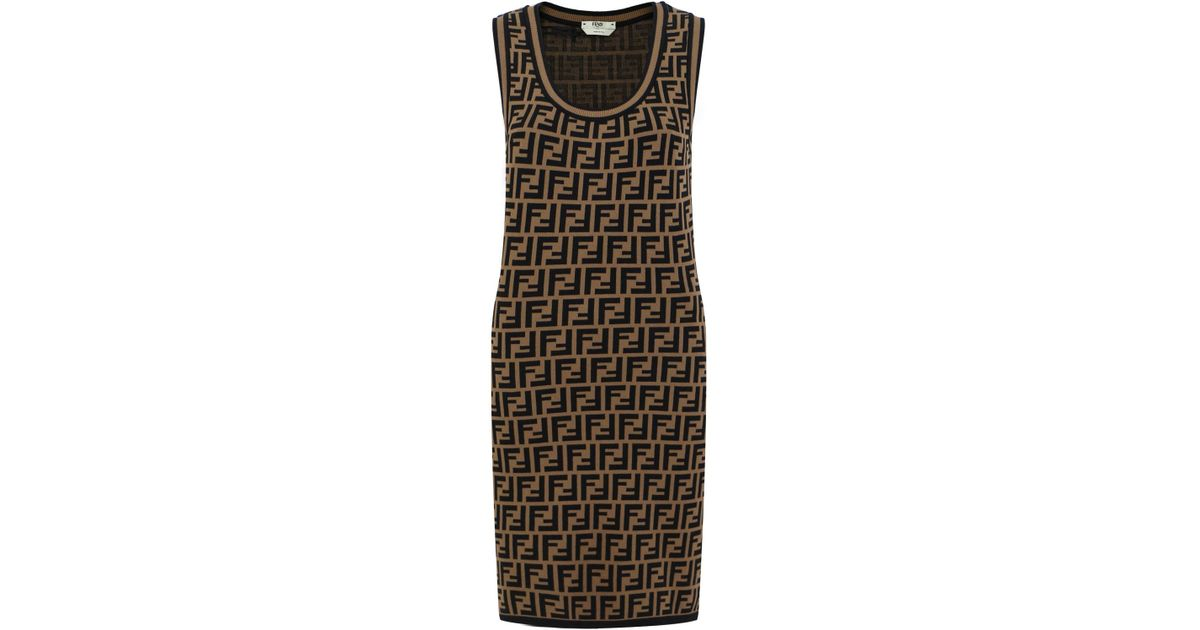 cc155cdce6e1 Lyst - Fendi S less Ff Logo Knit Dress Tobacco black in Brown