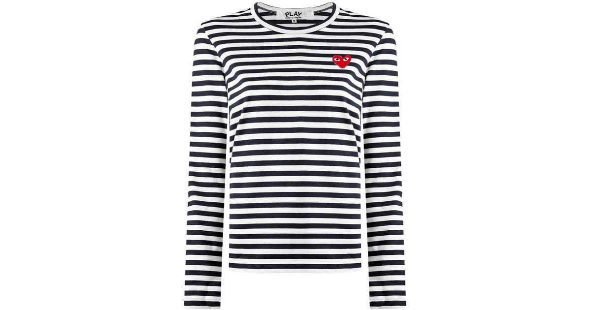 89f4b9ca3edd Comme des Garçons Play Long Sleeve Black Striped T-shirt Red Heart in Black  - Lyst