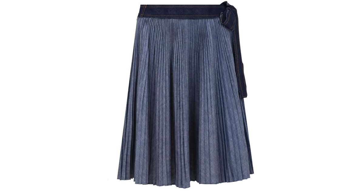 sacai dungaree pleated skirt navy in blue lyst