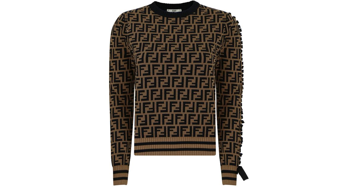 9aac653f4b12d Lyst - Fendi Ff Logo Crop Knit Top Tobbacco in Black