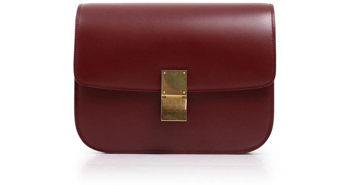 f278340023fd6c Céline Classic Box Bag Bordeaux - Lyst