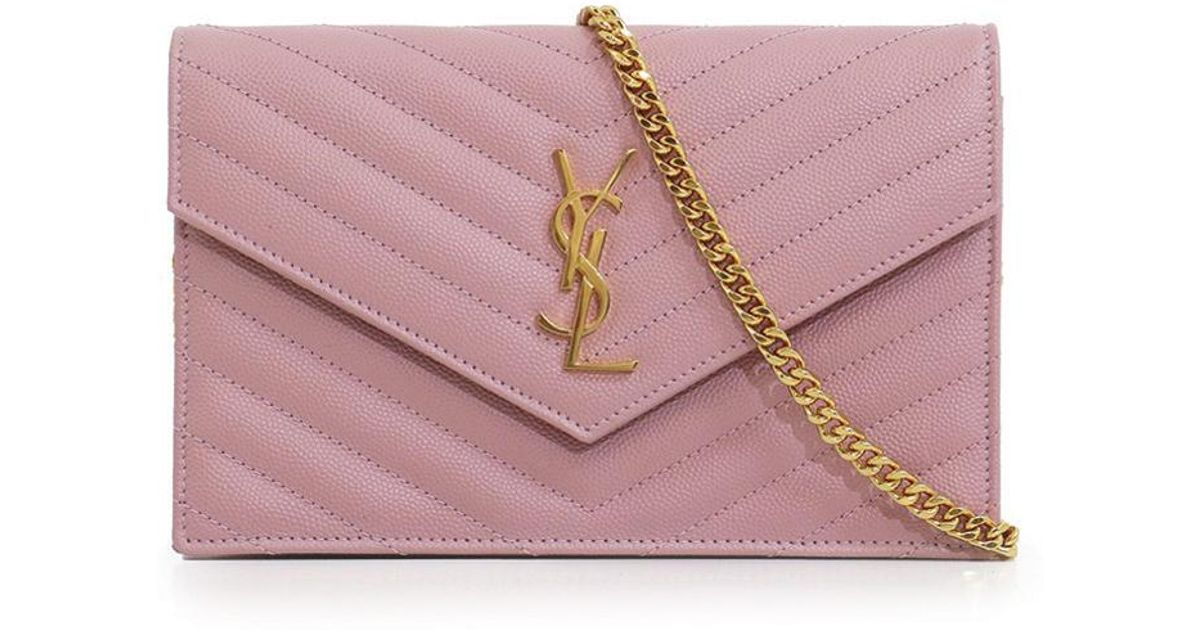 037c9a56505 Saint Laurent Monogramme Envelope Quilted Chain Wallet Tender Pink/gold in  Pink - Lyst