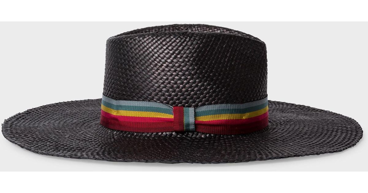 50bd0eb6 Lyst - Paul Smith Black Woven Fedora Hat With 'swirl-stripe' Band in Black