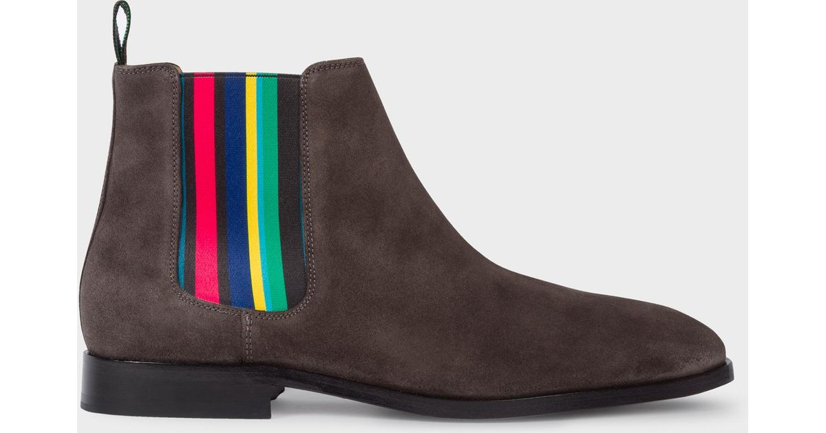 discount coupon professional website save up to 80% Paul Smith Gray Men's Dark Grey Suede 'gerald' Chelsea Boots for men