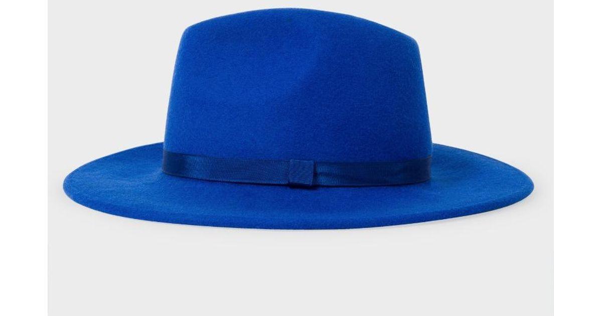 Lyst - Paul Smith Women s Blue Lined Wool Fedora Hat in Blue 35369ab30