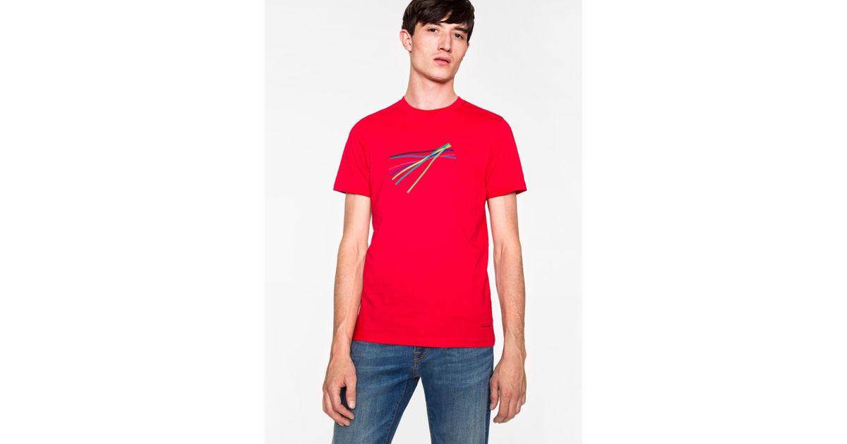 e07eca1724 Lyst - Paul Smith Men's Slim-fit Red 'sticks' Print Organic-cotton T-shirt  in Red for Men