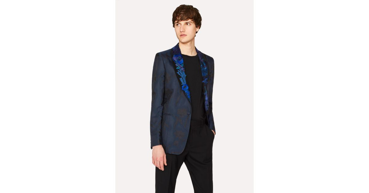 9be3154854 Paul Smith Black Shawl Collar Tuxedo Jacket With 'Ocean' Embroidery in  Black for Men - Lyst