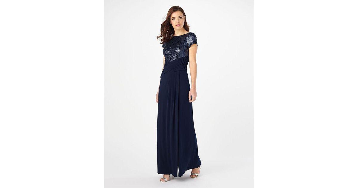 Phase Eight Sinnita Sequin Full Length Dress In Blue