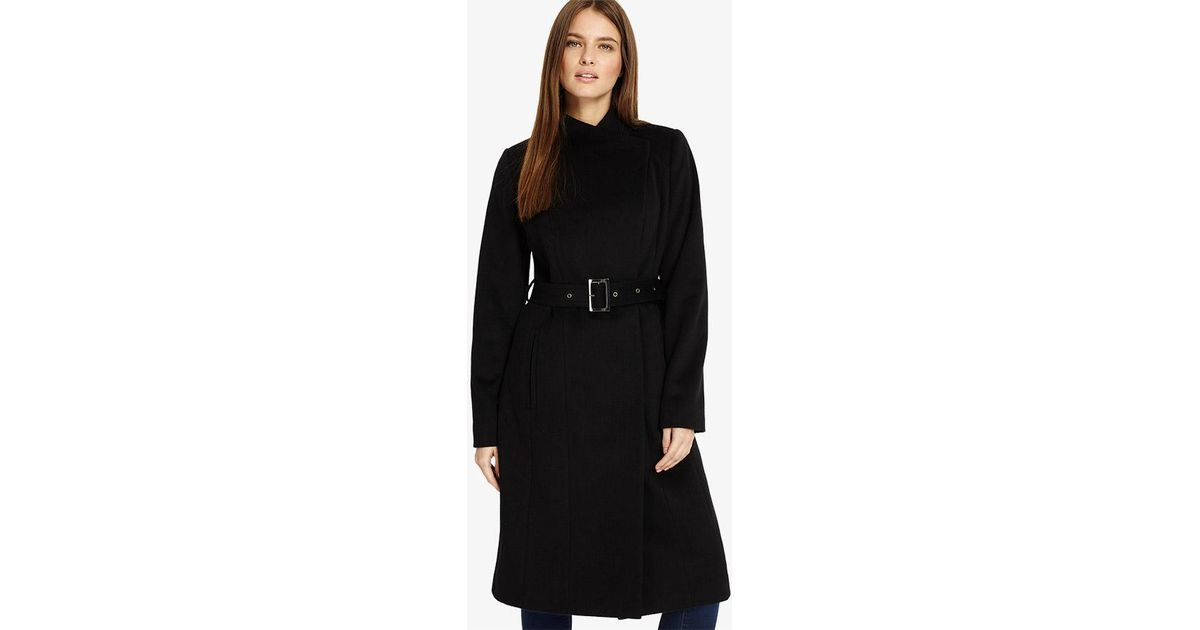 b3a48499816c Phase Eight Darby Wrap Neck Coat in Black - Lyst