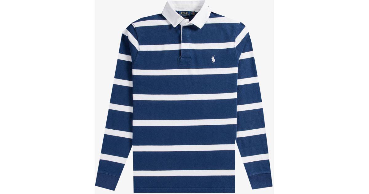 22647962128 ... best price lyst polo ralph lauren bar stripe rugby shirt navy white in  blue for men