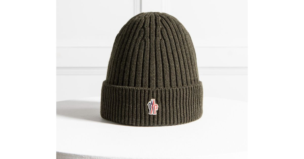 3635320dd9b38 Moncler Grenoble Ribbed Wool Hat Khaki for Men - Lyst
