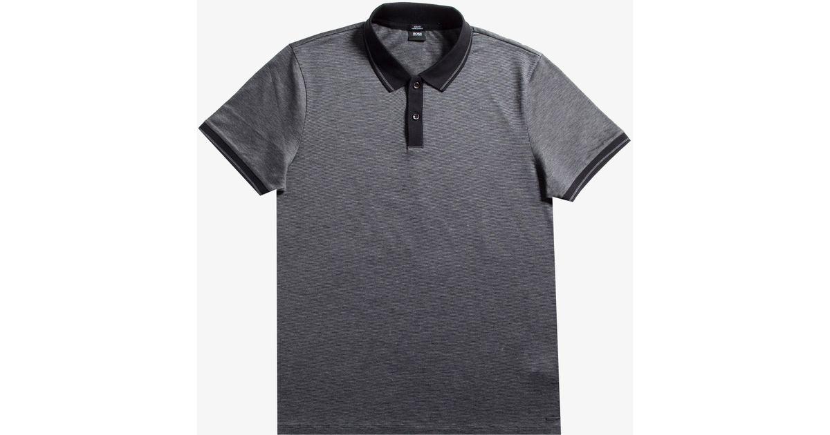 cc8397d8e BOSS 'phillipson' Contrast Collar Polo Black in Black for Men - Lyst