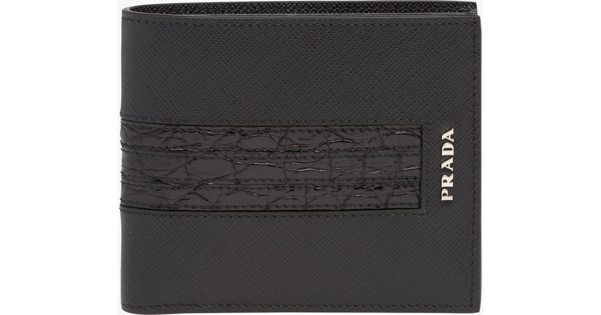 b725373aacd4 ... closeout lyst prada saffiano and crocodile leather wallet in black for  men 3256c 62a22