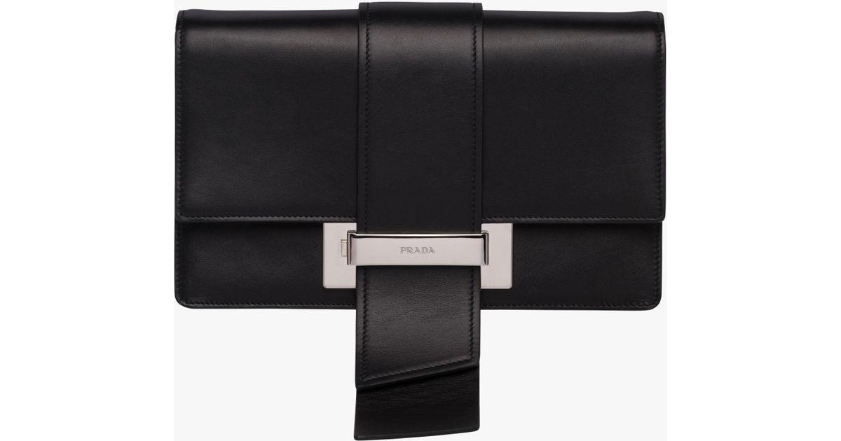 75ef1a4dd44a8b Prada Metal Ribbon Leather Shoulder Bag in Black - Lyst