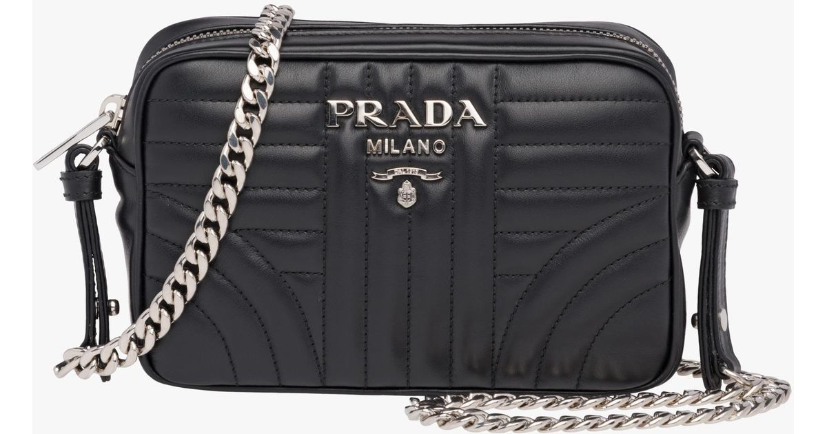 3e34d57a678f7 Prada Diagramme Leather Cross-body Bag in Black - Lyst