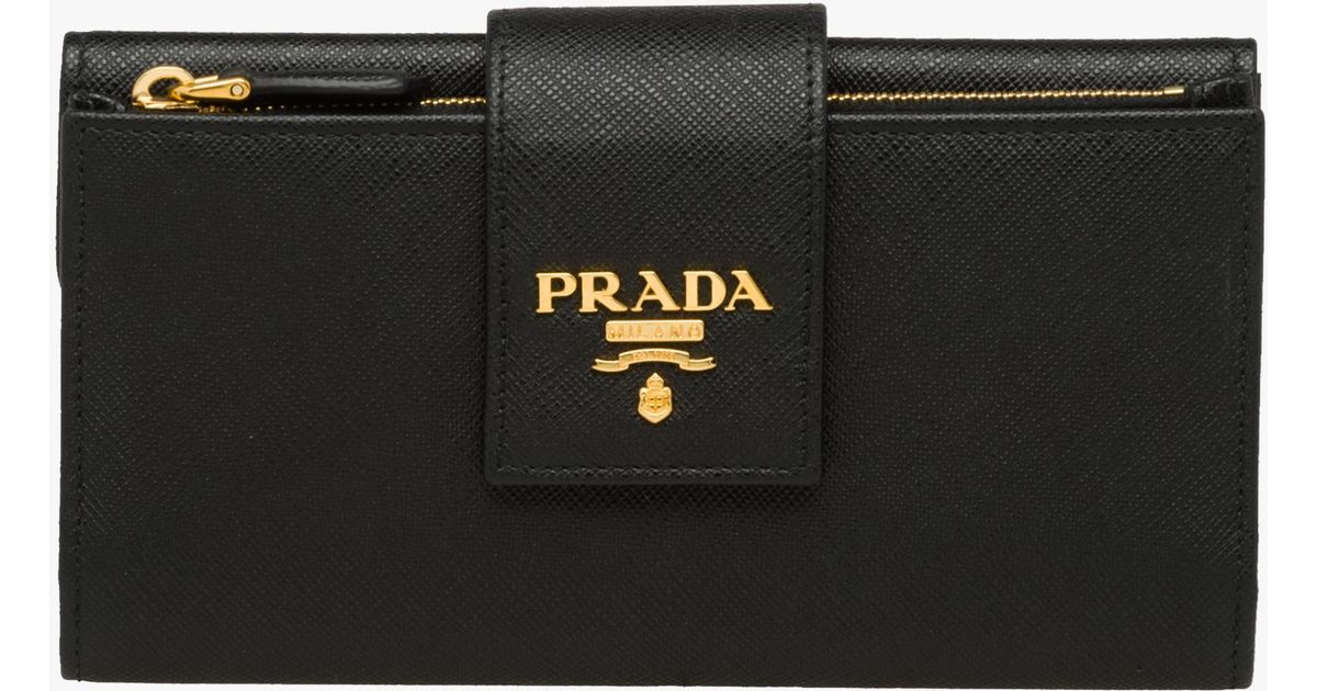 choose original world-wide selection of new season Prada Black Medium Saffiano Leather Wallet