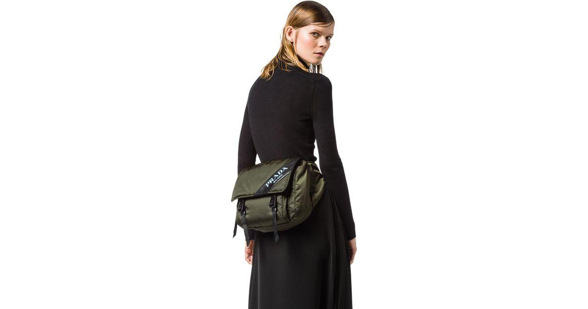 a88fad205 Prada Nylon And Leather Belt Bag in Black - Lyst