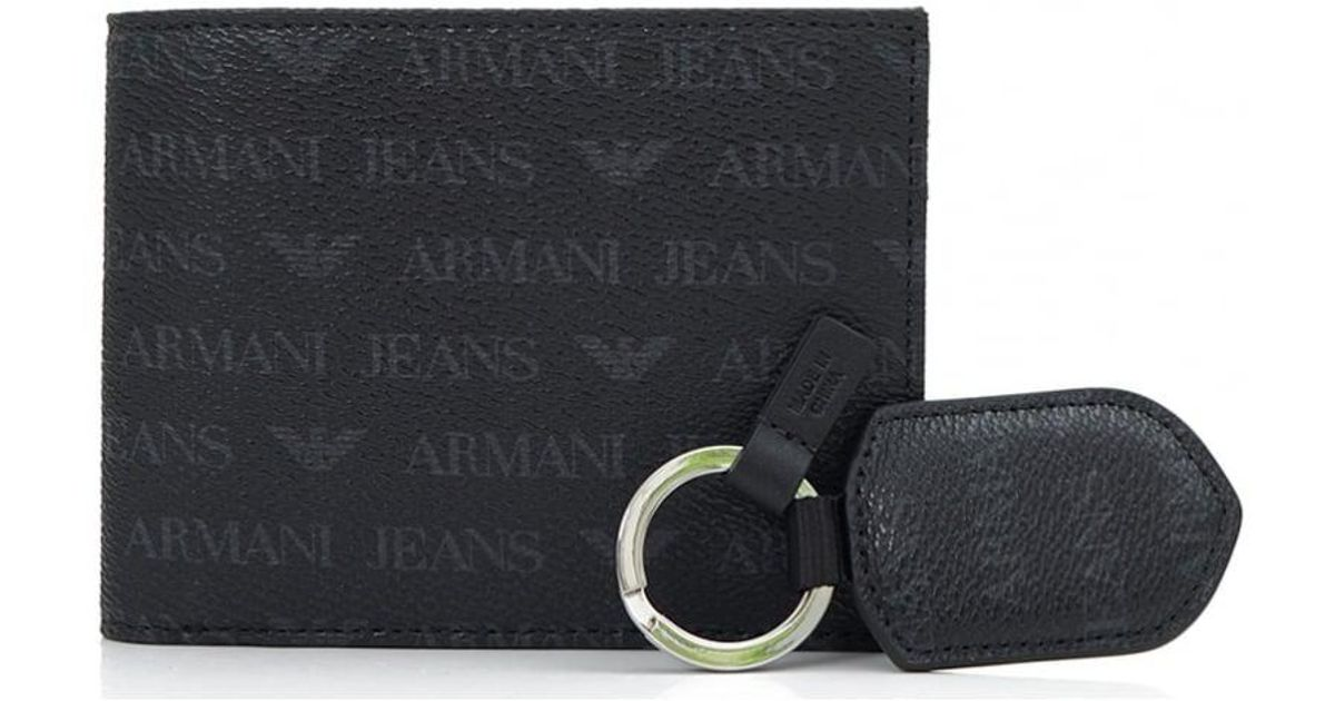 3758697ebcf Armani Jeans Logo Wallet And Keyring Gift Set in Black for Men - Lyst