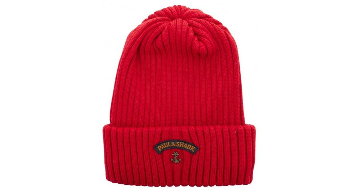 Lyst - Paul   Shark Paul   Shark Logo Beanie Hat in Red for Men dd794a8dc1b