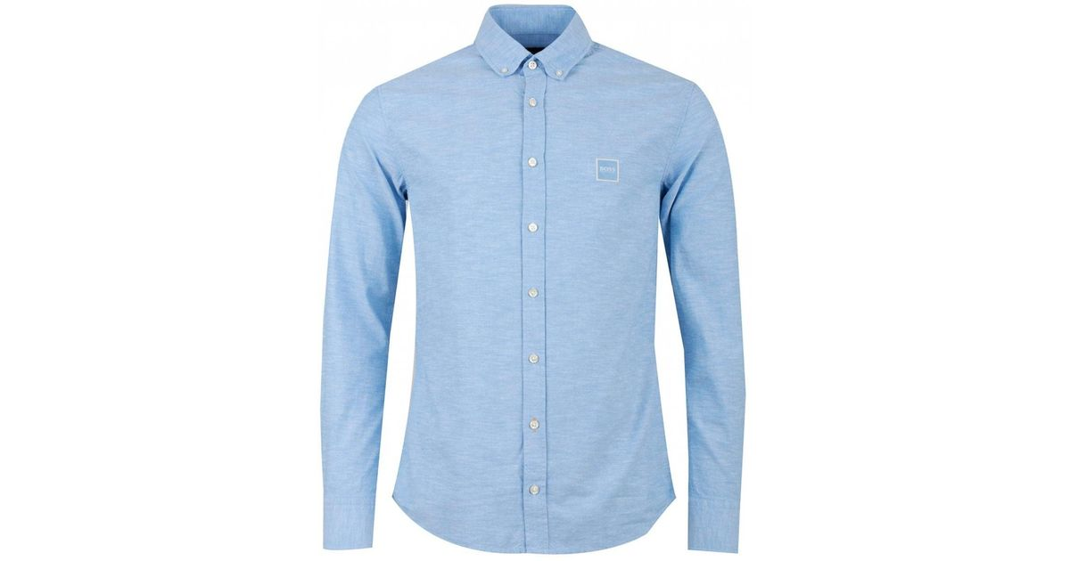 3a5b2ea8c BOSS Casual Mabsoot Slim Fit Oxford Logo Shirt in Blue for Men - Lyst