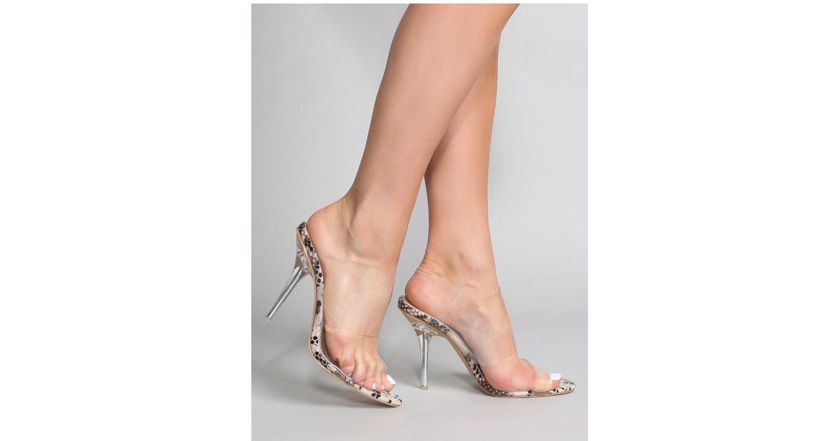 ba186e830e0 Public Desire Boujee Perspex Heel Mules In Faux Snake - Lyst