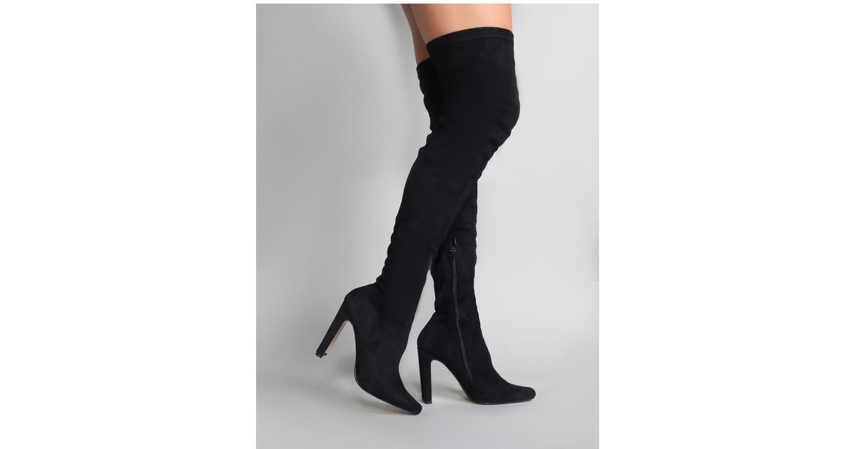 67aa04bbfbd Public Desire Pernille Over The Knee Boots In Black in Black - Lyst