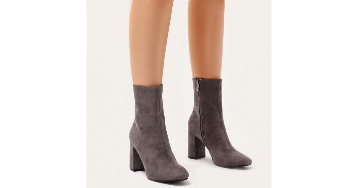 391a66feea2e Public Desire Beattie Block Heel Ankle Boots In Grey Faux Suede in Gray -  Lyst
