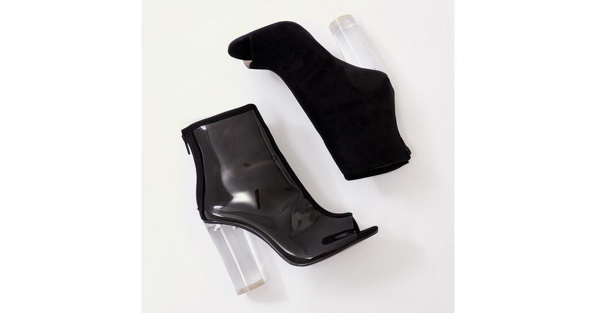 Lyst - Public Desire Woke Perspex Heel Ankle Boots In Black Faux Suede in  Black