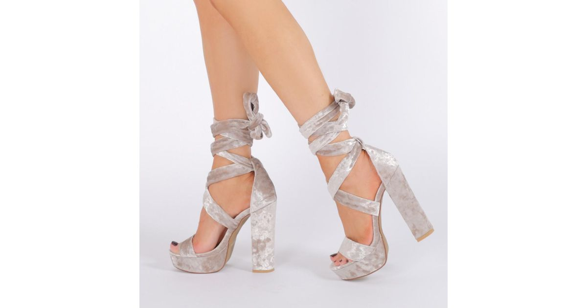 Lyst - Public desire Adrina Lace Up Heels In Silver Crushed Velvet ...