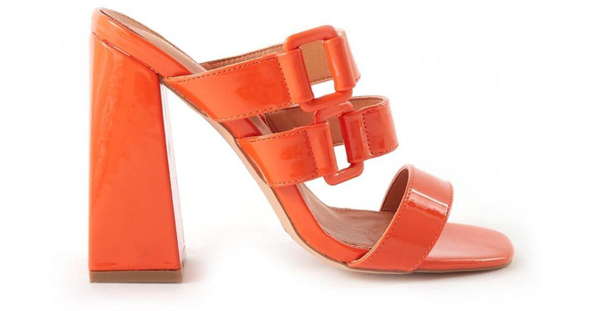 5dfb4068a43 Lyst - Public Desire Jersey Triple Strap Flared Block Heel Mules In Orange  Patent in Orange