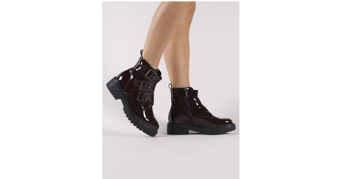 922c6c783c7 Public Desire Brag Chunky Ankle Boots In Burgundy Patent in Black - Lyst