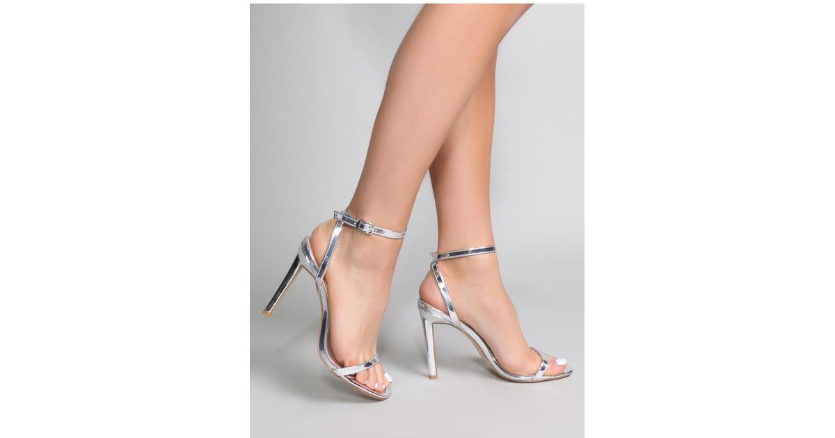51b00a41bb5 Lyst - Public Desire Notion Squared Toe Barely There Heels In Silver in  Metallic