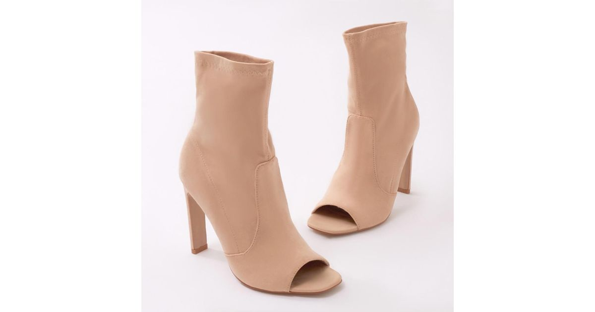 8ab2f14b6 Public Desire Craze Sock Fit Ankle Boots In Nude Faux Suede in Natural -  Lyst