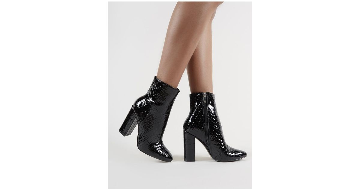 a2b6c1dc10c9 Lyst - Public Desire Presley Ankle Boots In Black Croc in Black