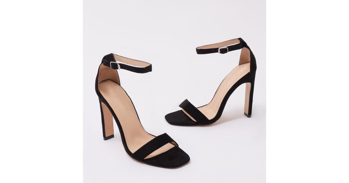 c4324c252e5 Lyst - Public Desire Crown Barely There Flat Block Heels In Black Faux  Suede in Black