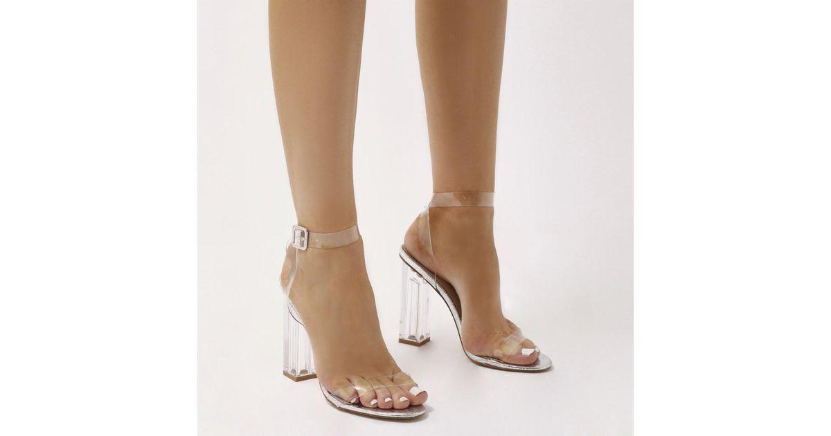 d9af48514ed Lyst - Public Desire Alia Strappy Perspex High Heels In Silver Crinkle in  Metallic